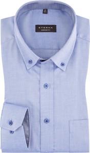Niebieska koszula Eterna w stylu casual z bawełny