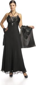 Czarna sukienka Fokus w stylu glamour z dekoltem w kształcie litery v z jedwabiu