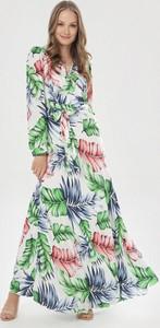 Sukienka born2be w stylu boho maxi z dekoltem w kształcie litery v