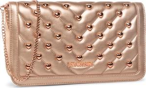Złota torebka Love Moschino mała z aplikacjami ze skóry