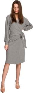 Sukienka MOE z długim rękawem z dekoltem w kształcie litery v z bawełny