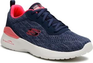 Granatowe buty sportowe Skechers z płaską podeszwą sznurowane