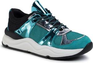 Zielone buty sportowe Geox sznurowane z płaską podeszwą