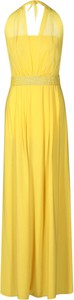 Żółta sukienka Fokus z dzianiny maxi