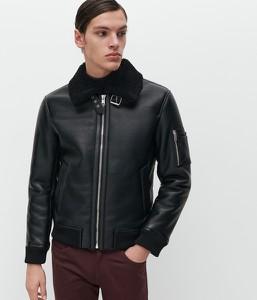 Czarna kurtka Reserved w stylu casual ze skóry
