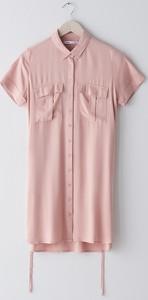 Różowa sukienka Sinsay z krótkim rękawem koszulowa