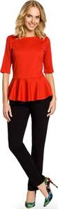 Czerwona bluzka MOE z okrągłym dekoltem
