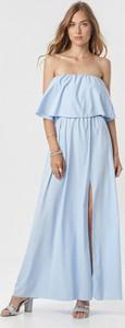 Niebieska sukienka born2be maxi hiszpanka