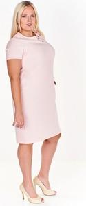 Sukienka Fokus midi z okrągłym dekoltem z krótkim rękawem