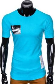 Turkusowy t-shirt Ombre Clothing z bawełny