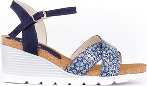 Niebieskie sandały Zapato na wysokim obcasie na koturnie ze skóry