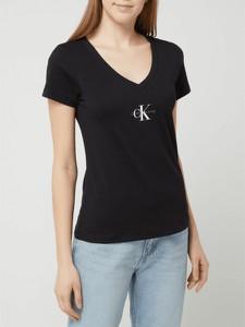 Czarny t-shirt Calvin Klein z bawełny z dekoltem w kształcie litery v