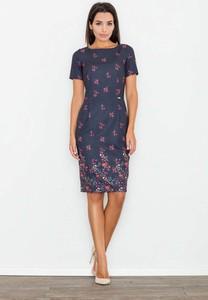 Sukienka Figl z okrągłym dekoltem ołówkowa midi