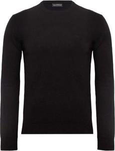 Czarny sweter Emporio Armani w stylu casual z okrągłym dekoltem z dżerseju