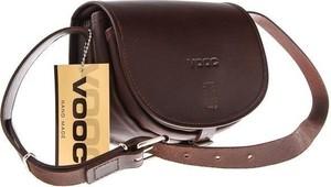 Brązowa torebka VOOC w młodzieżowym stylu matowa ze skóry