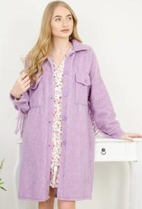 Fioletowy płaszcz Olika z wełny