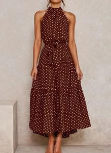 Brązowa sukienka Arilook bez rękawów w stylu boho midi