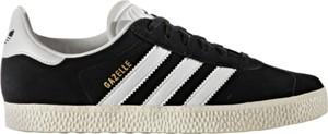 Czarne trampki Adidas ze skóry z płaską podeszwą gazelle