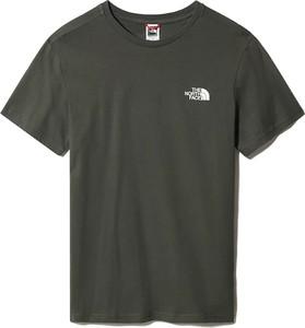 Zielony t-shirt The North Face w sportowym stylu z bawełny z krótkim rękawem