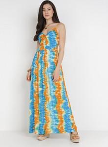Pomarańczowa sukienka born2be bez rękawów