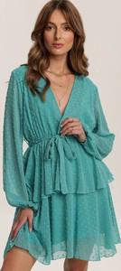Miętowa sukienka Renee z dekoltem w kształcie litery v z długim rękawem mini