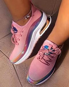 Różowe buty sportowe Kendallme sznurowane z płaską podeszwą
