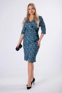 Niebieska sukienka Ptakmoda.com wyszczuplająca z długim rękawem midi