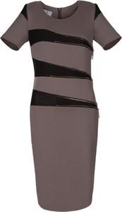 Brązowa sukienka Fokus midi z okrągłym dekoltem