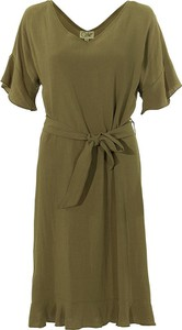 Zielona sukienka Coline z dekoltem w kształcie litery v mini z krótkim rękawem