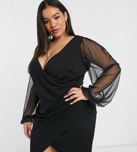 Czarna sukienka Asos kopertowa