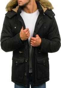 Czarna kurtka denley w street stylu z poliestru bez wzorów