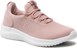 Różowe buty sportowe Lee Cooper z płaską podeszwą sznurowane