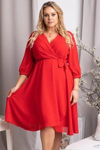 Czerwona sukienka KARKO trapezowa z dekoltem w kształcie litery v z szyfonu