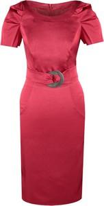 Czerwona sukienka Fokus midi w stylu klasycznym z tkaniny