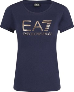Niebieski t-shirt EA7 Emporio Armani w stylu casual