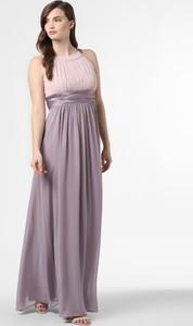 Różowa sukienka Marie Lund bez rękawów z satyny maxi