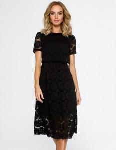 Czarna sukienka MOE z krótkim rękawem midi