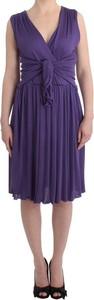 Fioletowa sukienka Galliano z dekoltem w kształcie litery v z dżerseju