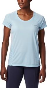 Niebieski t-shirt Columbia z krótkim rękawem w sportowym stylu z okrągłym dekoltem