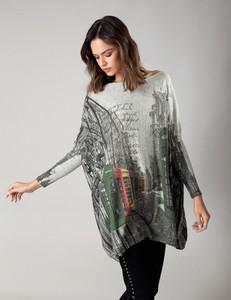 Bluzka Molton z okrągłym dekoltem z długim rękawem w stylu casual