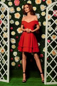 Czerwona sukienka Lemoniade bez rękawów hiszpanka