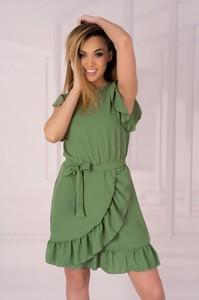 Zielona sukienka MERRIBEL z długim rękawem z okrągłym dekoltem mini