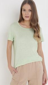 Zielona bluzka born2be z okrągłym dekoltem z krótkim rękawem