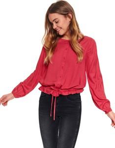 Czerwona bluzka Top Secret z okrągłym dekoltem
