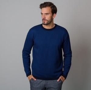 Granatowy sweter Willsoor w stylu casual z okrągłym dekoltem