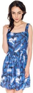 Sukienka Guess rozkloszowana mini z okrągłym dekoltem