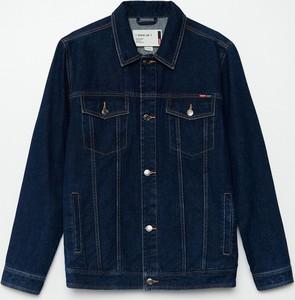 Granatowa kurtka Cropp w młodzieżowym stylu krótka z jeansu