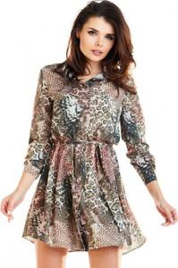 Sukienka Awama mini z długim rękawem z okrągłym dekoltem
