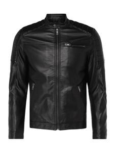 Czarna kurtka Jack & Jones ze skóry ekologicznej w stylu casual