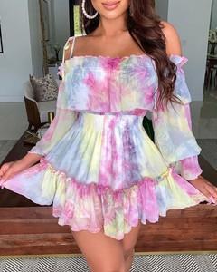 Sukienka Kendallme mini z długim rękawem z odkrytymi ramionami